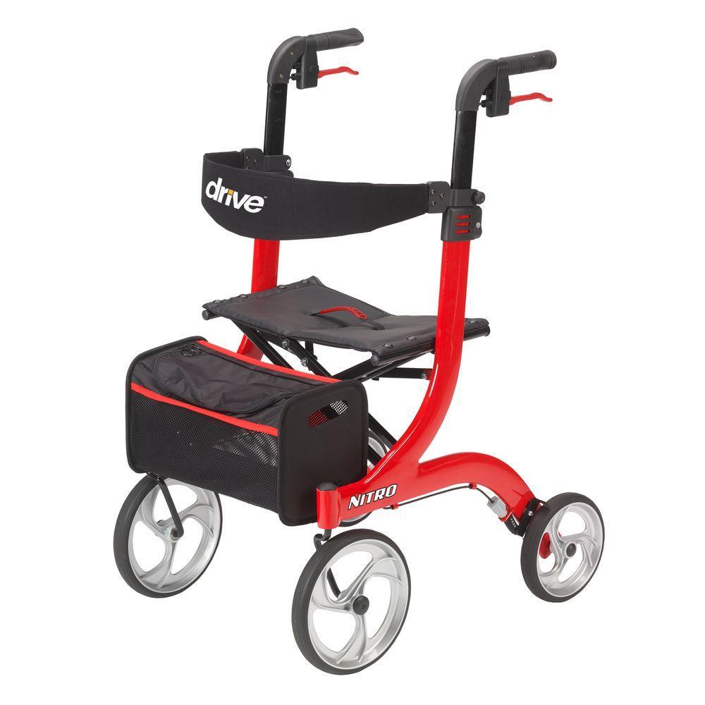 Drive Nitro Euro Style Red 4-Wheel Rollator Walker