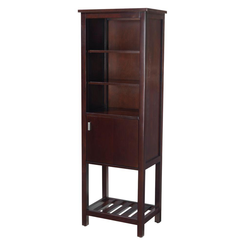 Home Decorators Collection Fraser 20 in. W x 60 in. H Linen Cabinet in Espresso