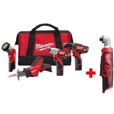 M12 12-Volt Lithium-Ion Cordless Combo Tool Kit (4-Tool) with Free M12 1/4 in. Right Angle Hex Impact Driver