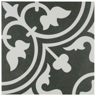 Arte Black Encaustic 9-3/4 in. x 9-3/4 in. Porcelain Floor and Wall Tile (10.76 sq. ft. / case)