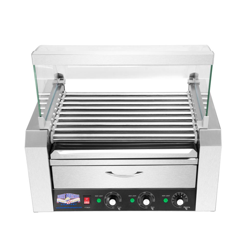 Great Northern 9-Hot Dog 124 sq. in. Stainless Steel Hot Dog Roller Grill with Bun Warmer and Cover, Silver was $279.99 now $167.99 (40.0% off)