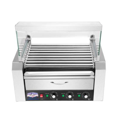 9-Hot Dog 124 sq. in. Stainless Steel Hot Dog Roller Grill with Bun Warmer and Cover
