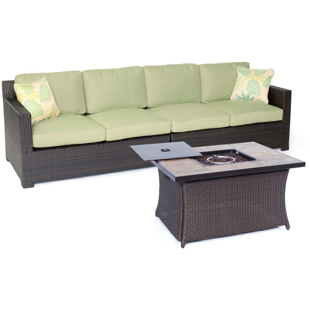 Hanover Metropolitan 3 Piece All Weather Wicker Patio Fire Pit Loveseat Set With Avocado Green