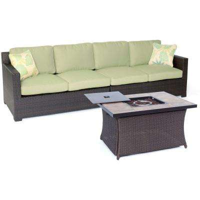 Metropolitan 3-Piece All-Weather Wicker Patio Fire Pit Loveseat Set with Avocado Green Cushions