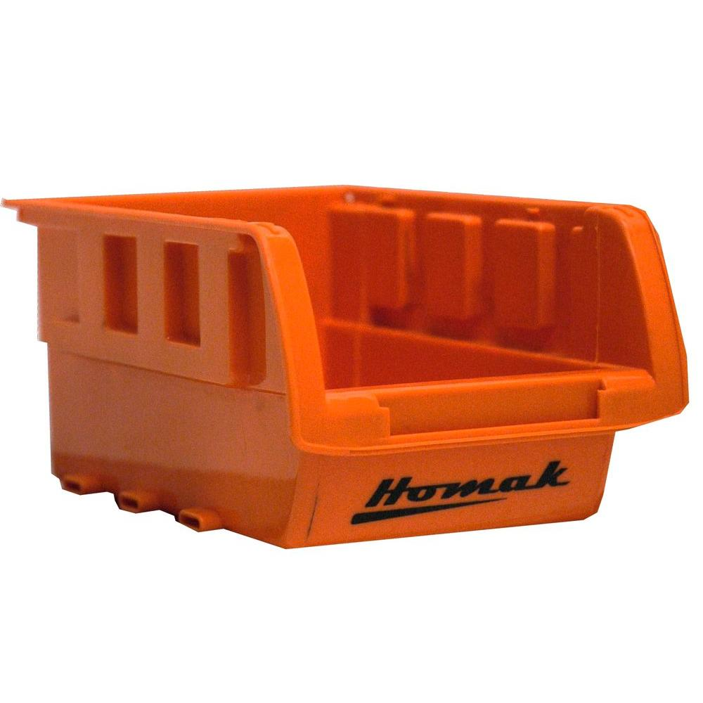 1-Compartment Stackable Bin Small Parts Organizer in Orange