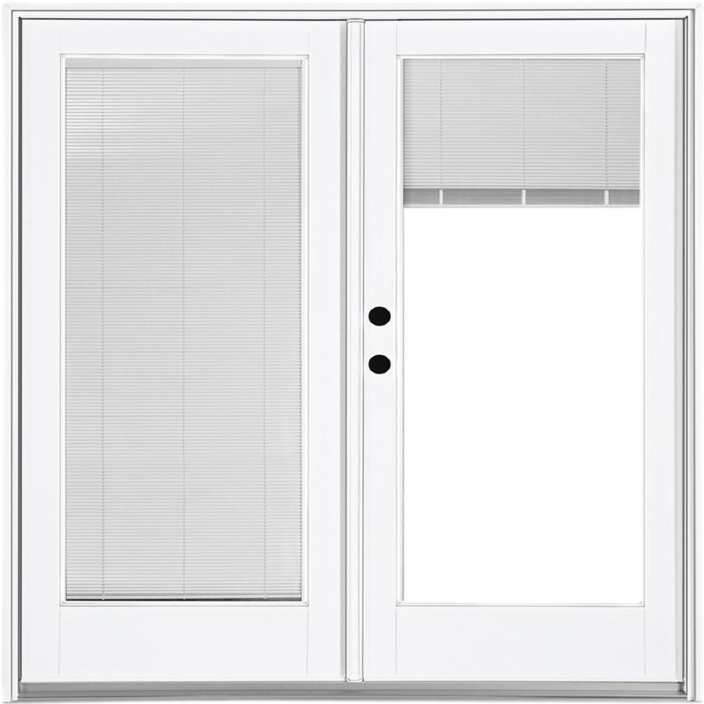 Mp doors 72 in x 80 in fiberglass smooth white right - Exterior french doors with built in blinds ...