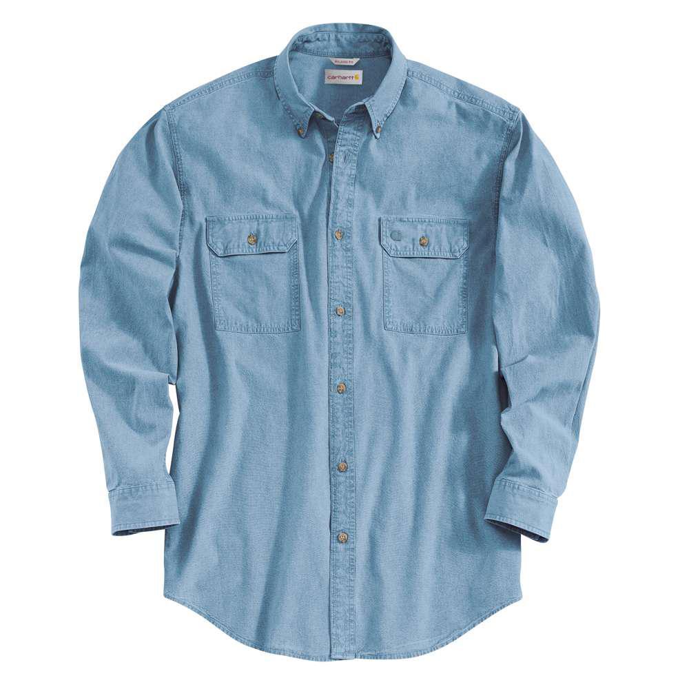 Men's Regular XX Large Blue Chambray Cotton Long-Sleeve Wovens