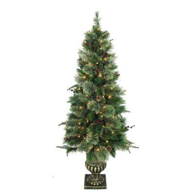 5 ft. Syracuse Cashmere Berry Potted Artificial Christmas Tree with 150 Clear Lights (Set of 2)