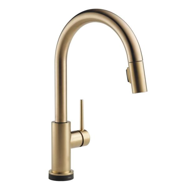 Trinsic Touch2O Single-Handle Pull-Down Sprayer Kitchen Faucet (Google Assistant, Alexa Compatible) in Champagne Bronze