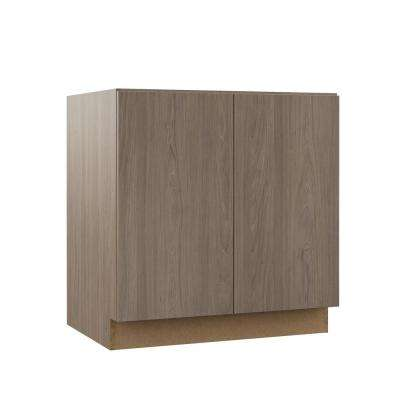 Edgeley Assembled 33x34.5x21 in. Full Door Height Vanity Base Cabinet in Driftwood