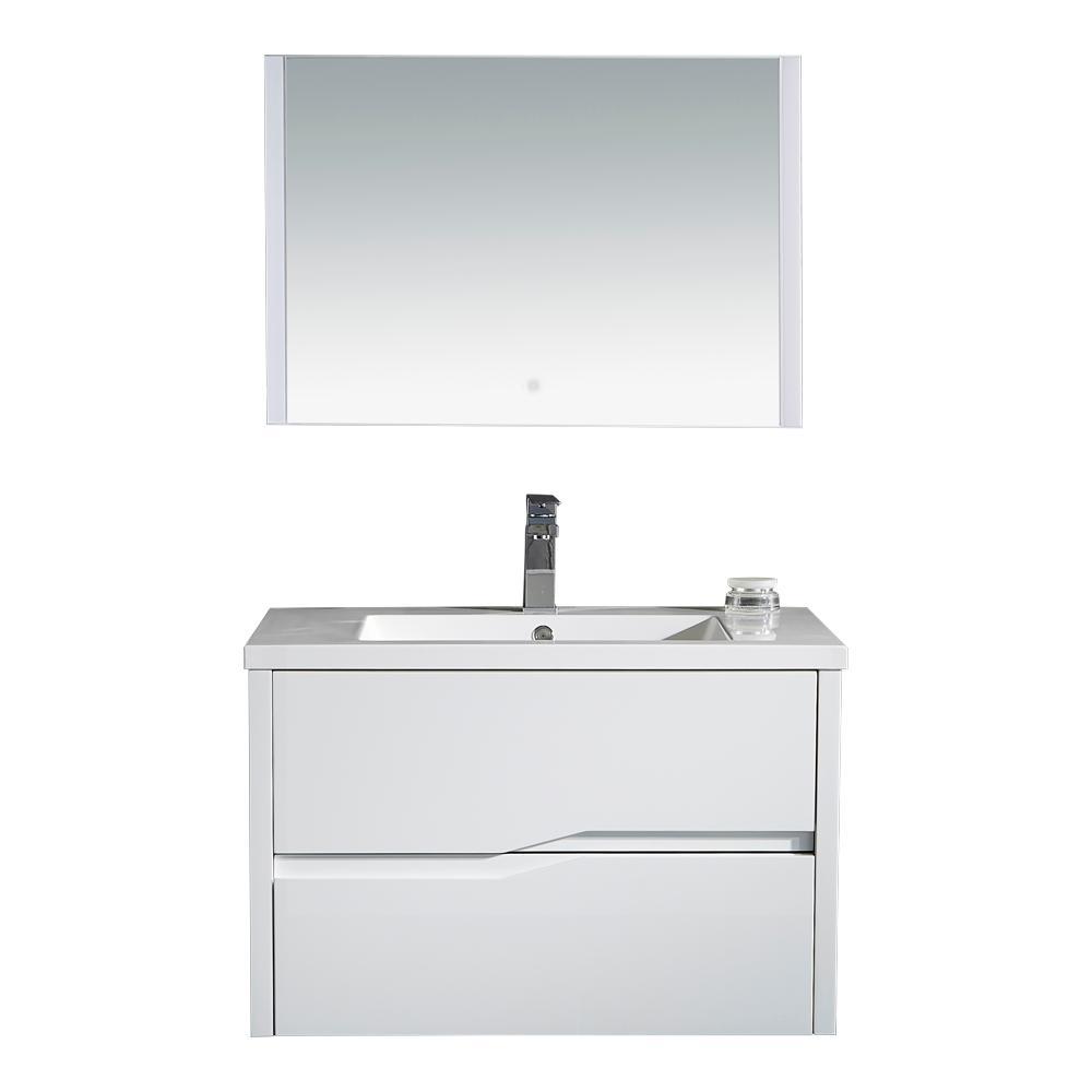 32 in. W x 19 in. D LED Vanity in White with Resin Vanity Top in White with White Basin and LED Mirror