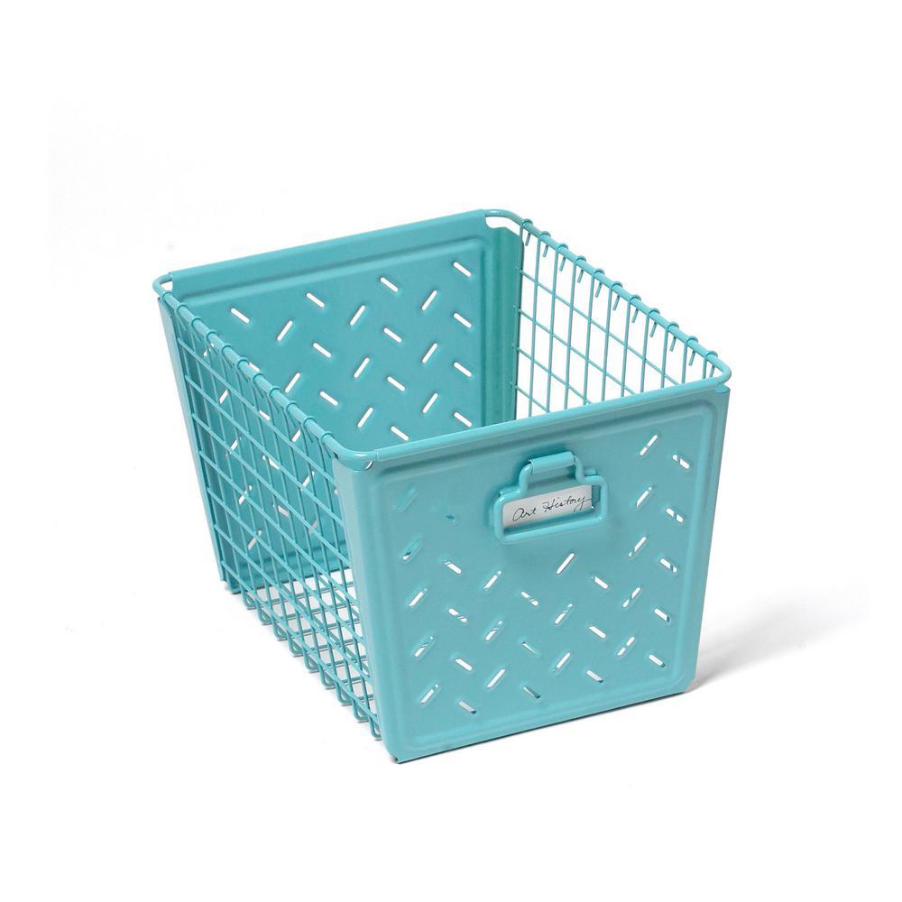 Spectrum Macklin Medium Metal Basket in Teal-83548 - The Home Depot