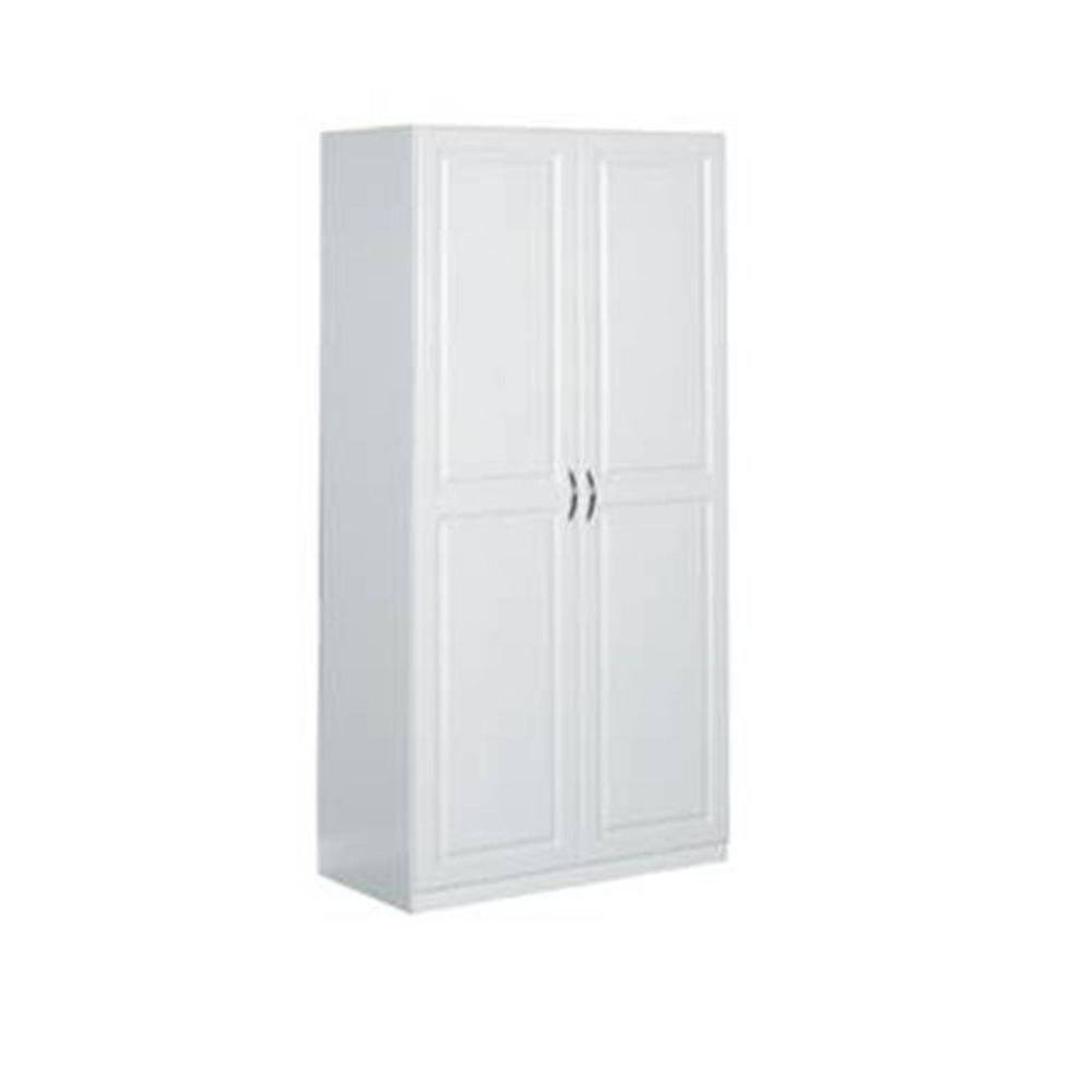 Laminated 2 Door Raised Panel Storage Cabinet In White