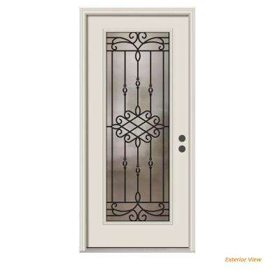 36 in. x 80 in. Full Lite Sanibel Primed Steel Prehung Left-Hand Inswing Front Door w/Brickmould