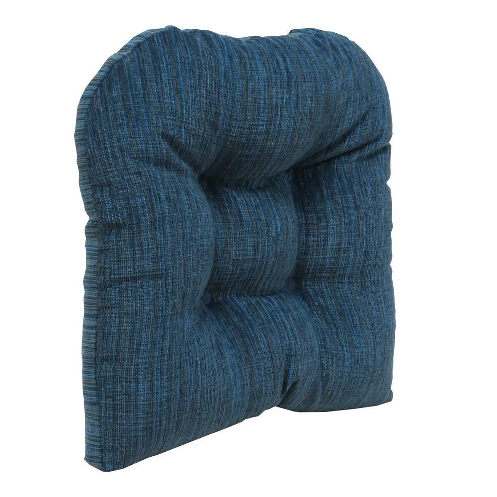 Gripper Non-Slip 17 in. x 17 in. Polar Chenille Sapphire Tufted Universal Chair Cushions