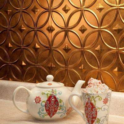 24 in. x 18 in. Rings PVC Decorative Backsplash Panel in Antique Bronze