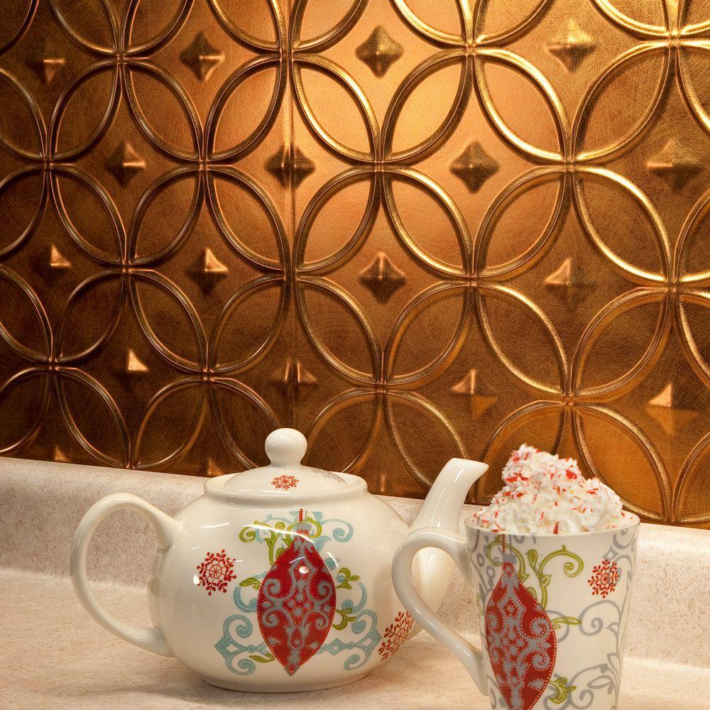 24 in. x 18 in. Rings PVC Decorative Backsplash Panel in Antique Bronze