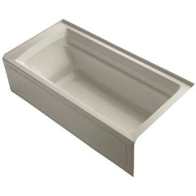Archer 6 ft. Right Drain Soaking Tub in Sandbar with Bask Heated Surface