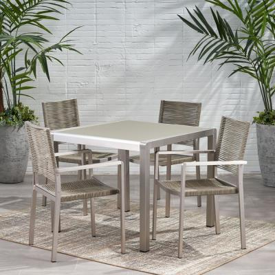 Peridot 30 in. Silver 5-Piece Aluminum Square Outdoor Dining Set