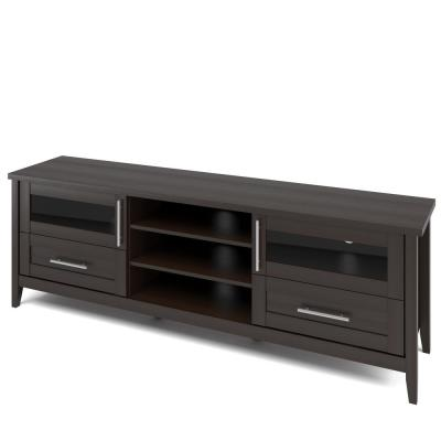 Jackson 71 in. Dark Espresso Wood TV Stand with 2 Drawer Fits TVs Up to 80 in. with Storage Doors