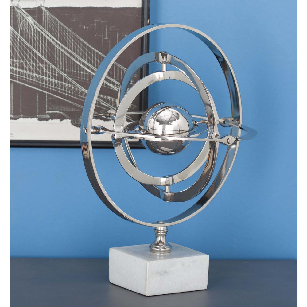 15 in. x 12 in. Modern Decorative Aluminium and Ceramic Armillary Sphere Sculpture