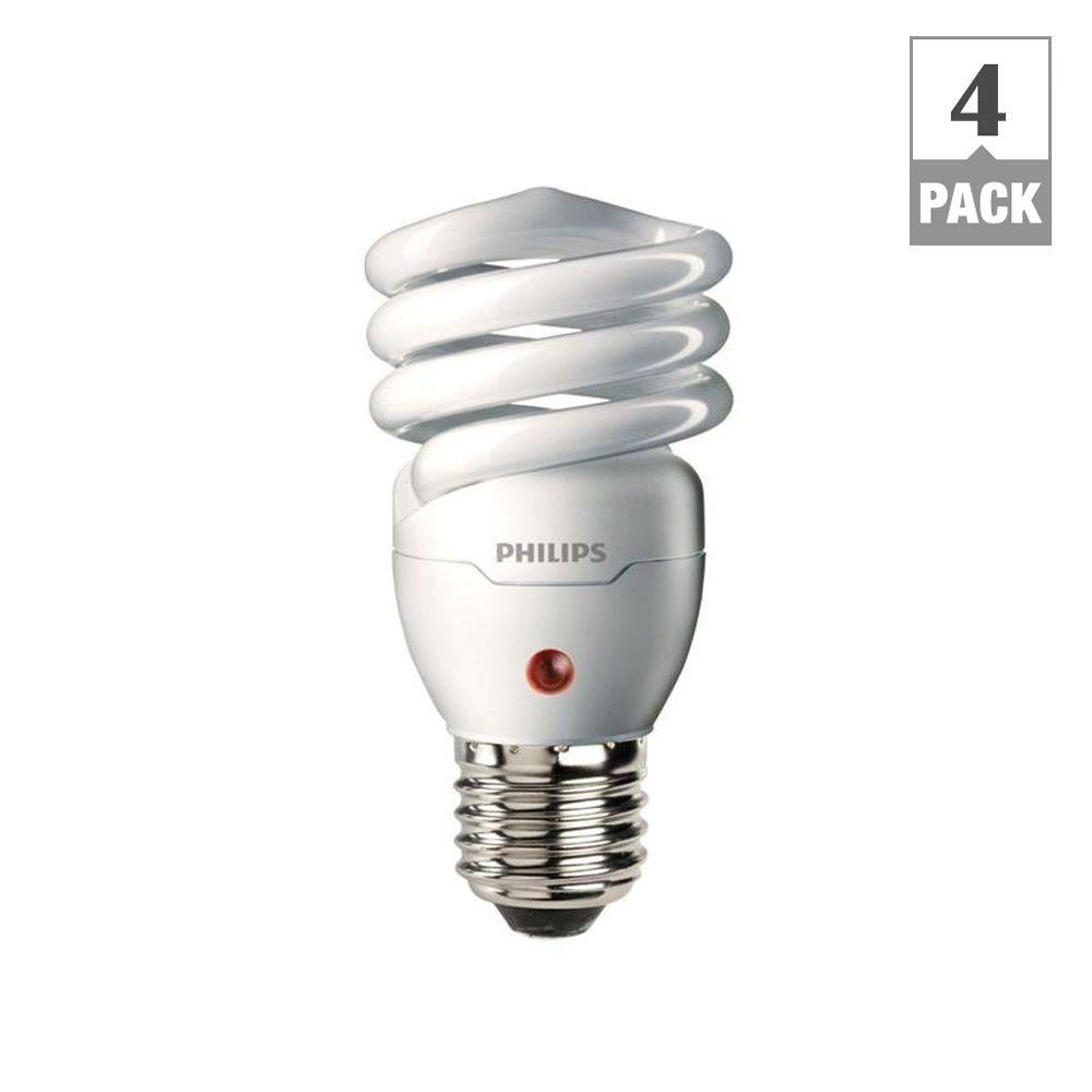Philips 60W Equivalent Soft White Spiral Dusk till Dawn CFL Light Bulb (4-Pack)
