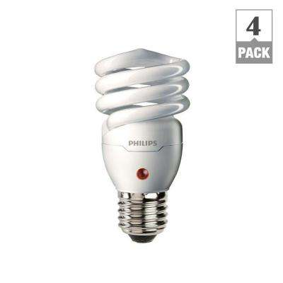 60W Equivalent Soft White Spiral Dusk till Dawn CFL Light Bulb (4-Pack)