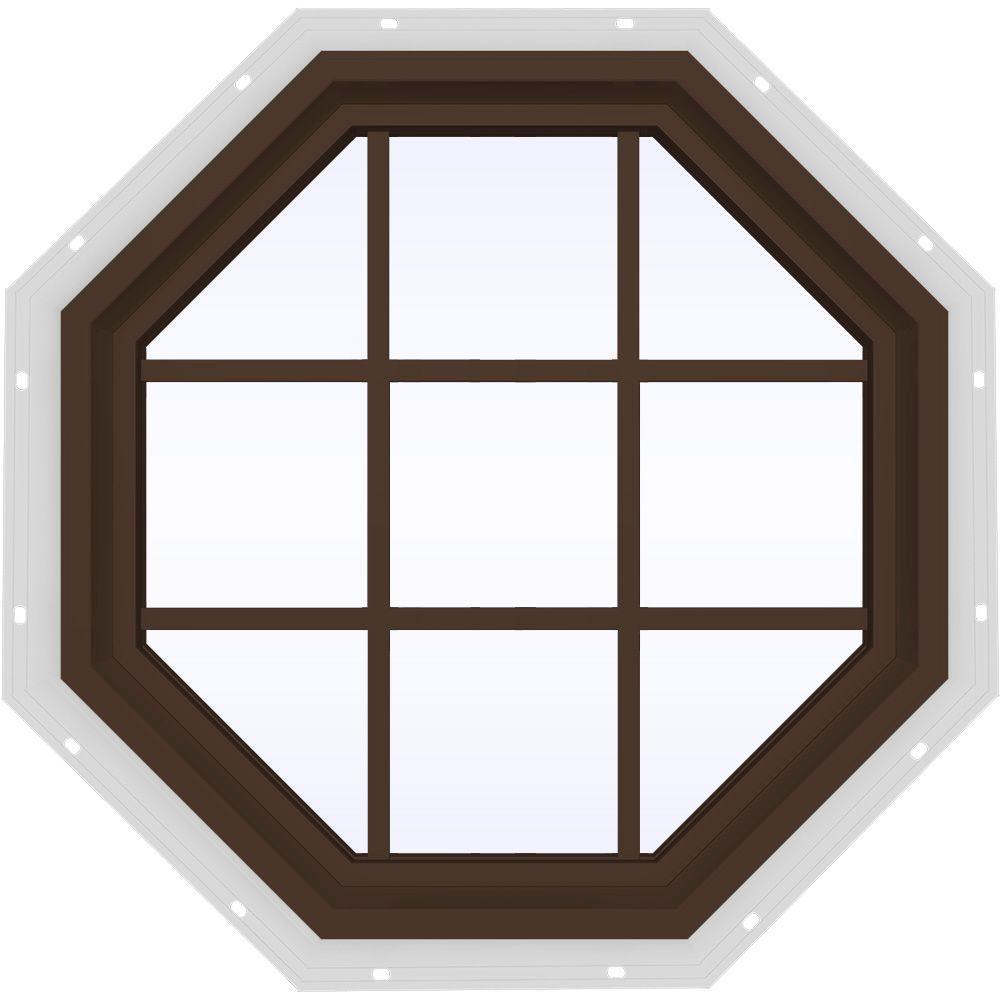 35.5 in. x 35.5 in. V-4500 Series Fixed Octagon Vinyl Window