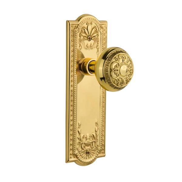 Nostalgic Warehouse Meadows Plate With Keyhole 2 3 8 In Backset Unlacquered Brass Privacy Bed Bath Egg And Dart Door Knob 717018 The Home Depot