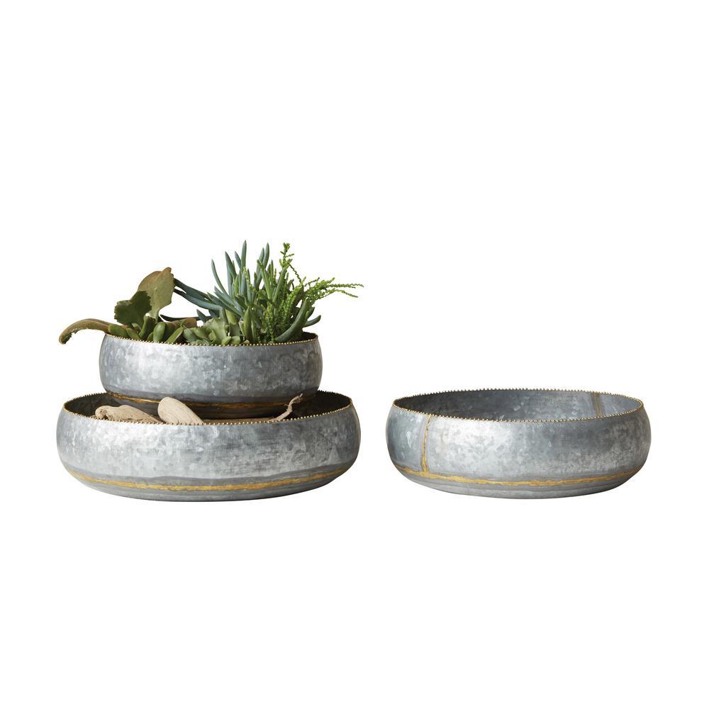Silver Planter: 3R Studios Round Silver Galvanized Planter Bowls (Set Of 3