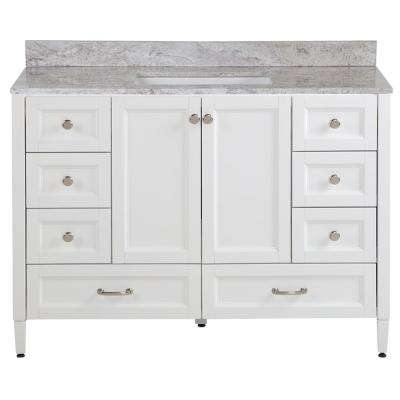 Claxby 49 in. W x 22 in. D Bathroom Vanity in White with Stone Effect Vanity Top in Winter Mist with White Sink