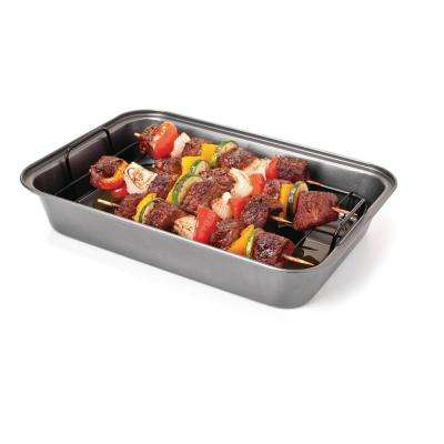 13 in. x 9 in. x 3 in. Non-Stick Grease-Away Shish Kabob Pan