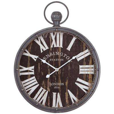 18 in. Pendant Iron Wall Clock and MDF Back Plate
