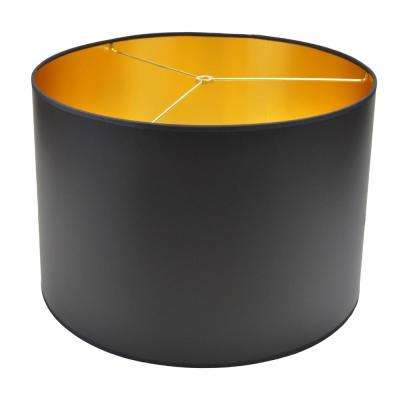 18 in. Width x 12 in. Height Black Paper with Gold Foil Interior/Brass Hardware Drum Lamp Shade