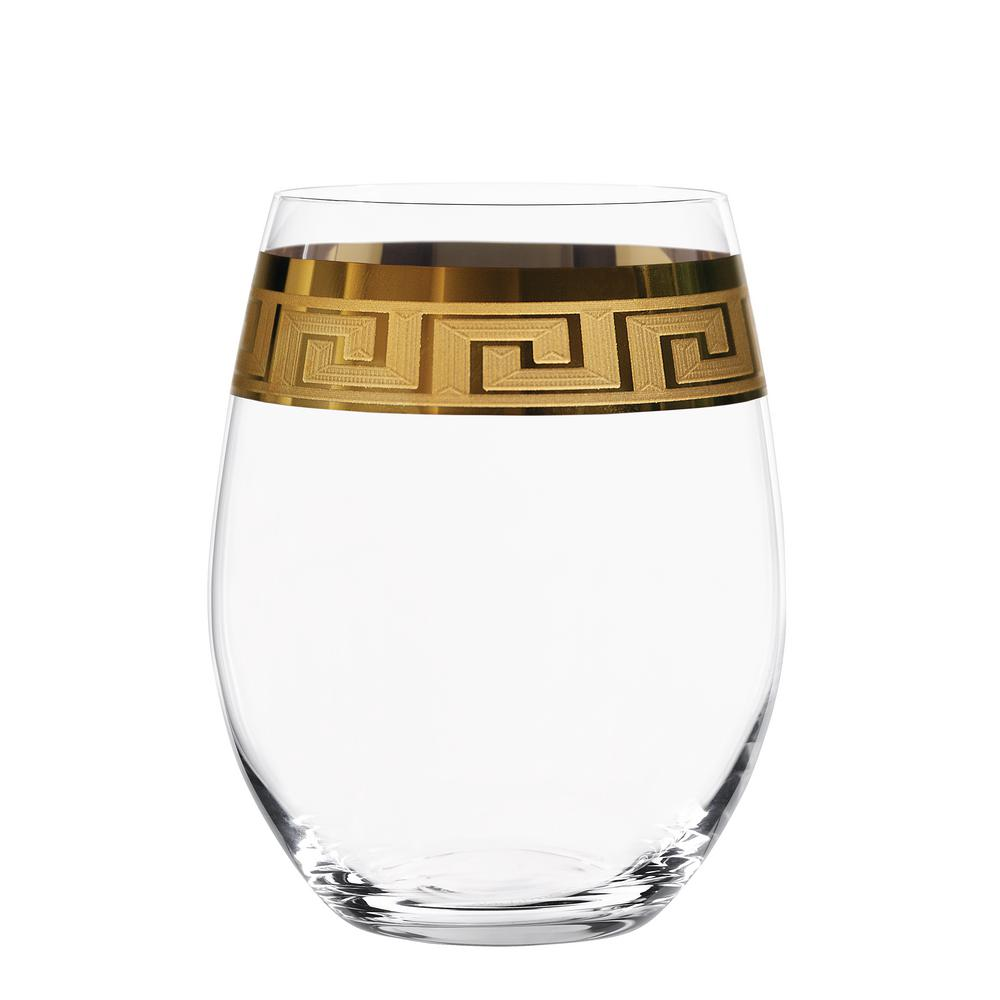 Muse 13 oz. Wine Tumbler in Clear with Gold Trim (Set