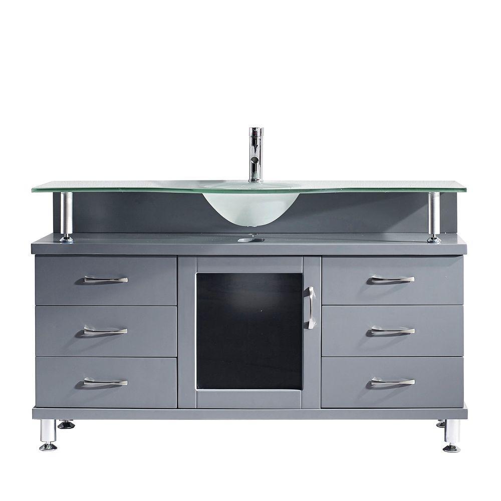 Virtu USA Vincente 55.12 inch W x 21.65 inch D x 33.54 inch H Grey Vanity With Glass Vanity Top With Aqua Round Basin by Virtu USA