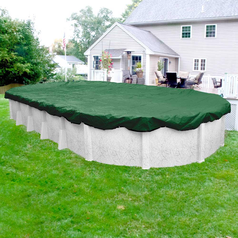 Optimum 18 ft. x 40 ft. Oval Green Solid Winter Above