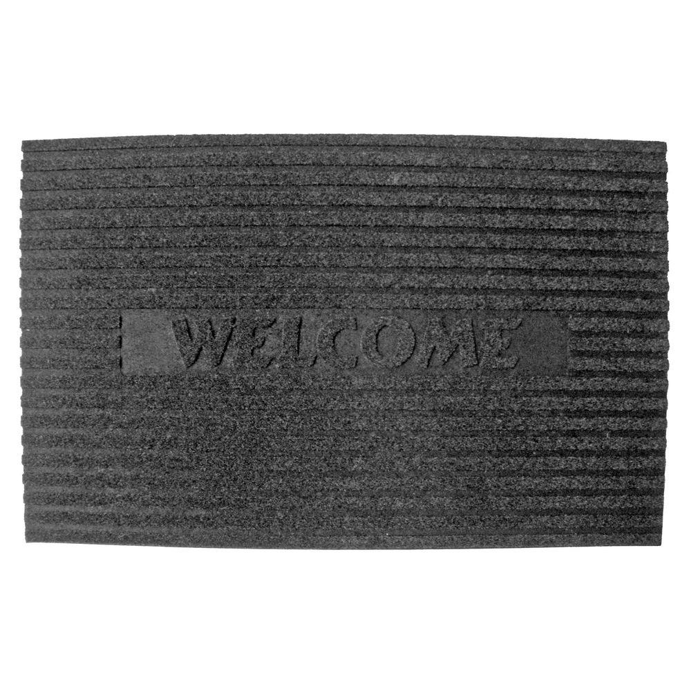 Solid Flocked Welcome Charcoal 18 in. x 30 in. Crumb Rubber