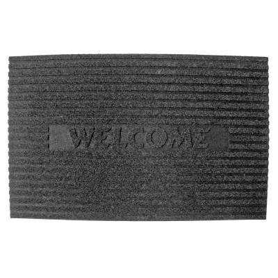 Solid Flocked Welcome Charcoal 18 in. x 30 in. Crumb Rubber Door Mat