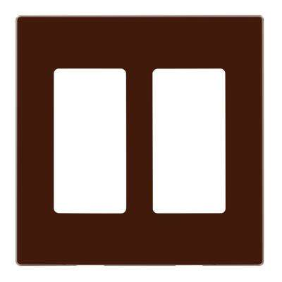 2-Gang Decora Plus Wallplate Screwless Snap-On Mount, Brown