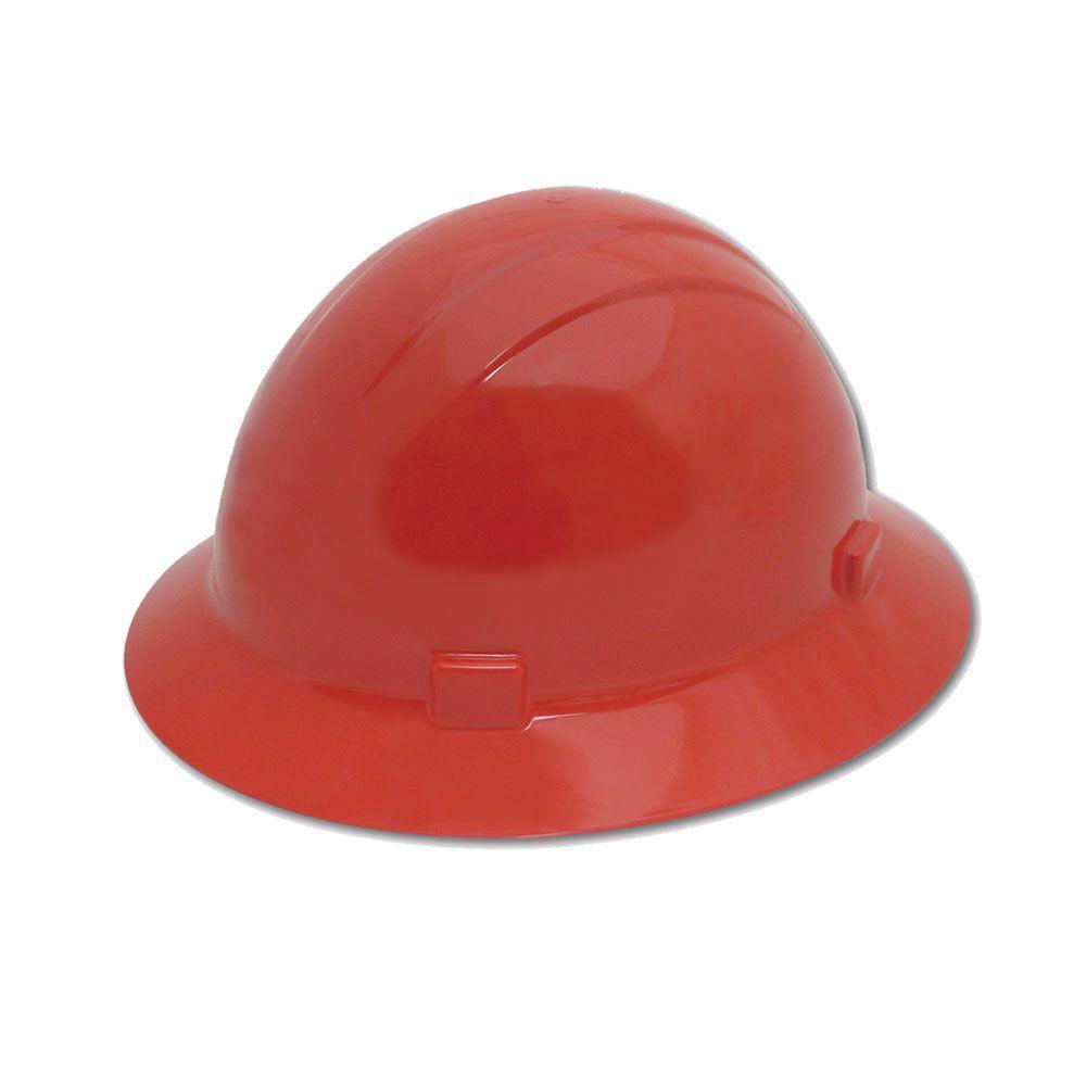 4 Point Nylon Suspension Mega Ratchet Full Brim Hard Hat in Red