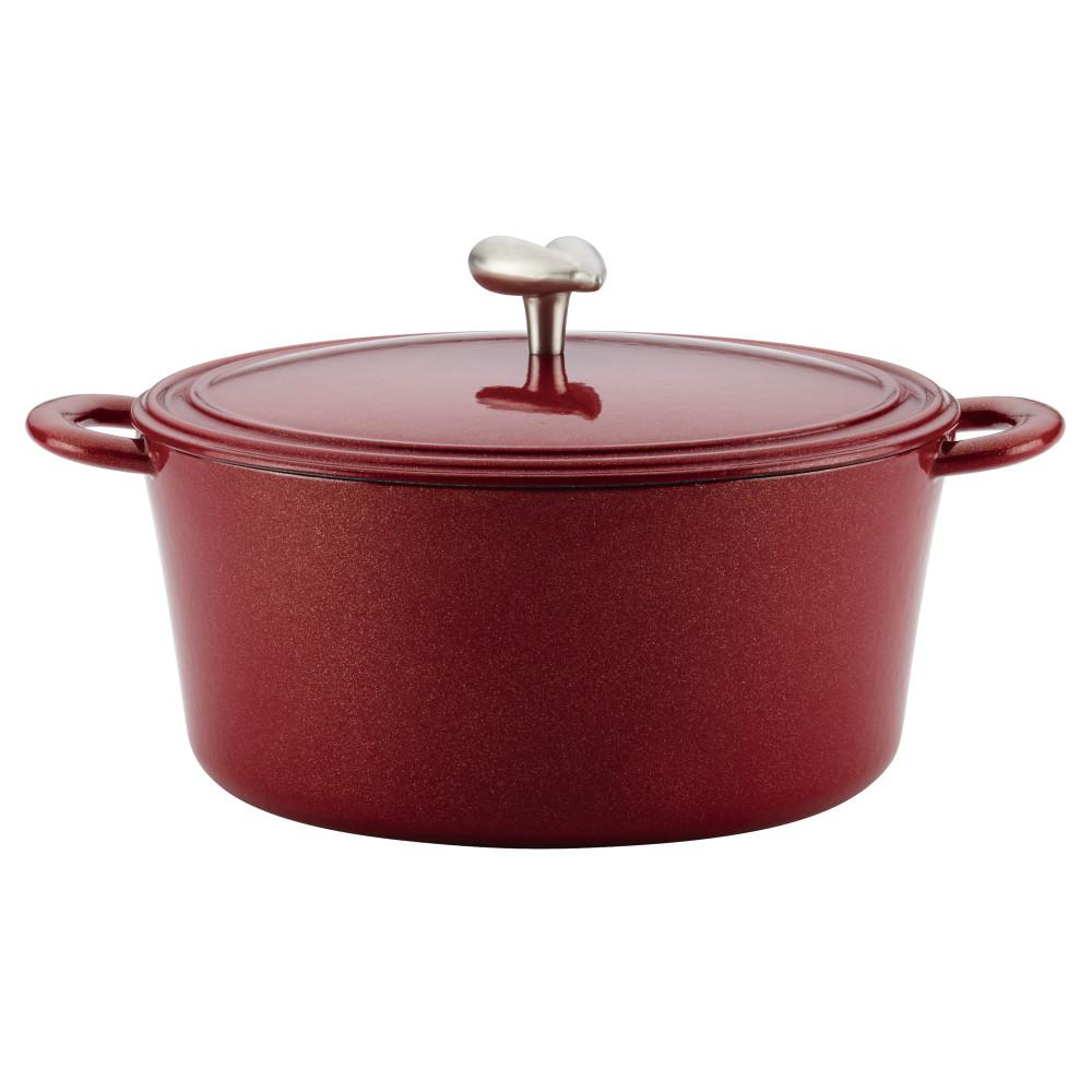 Ayesha Curry 6 Qt. Cast Iron Enamel Covered Dutch Oven, in Sienna Red