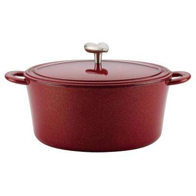 6 Qt. Cast Iron Enamel Covered Dutch Oven, in Sienna Red