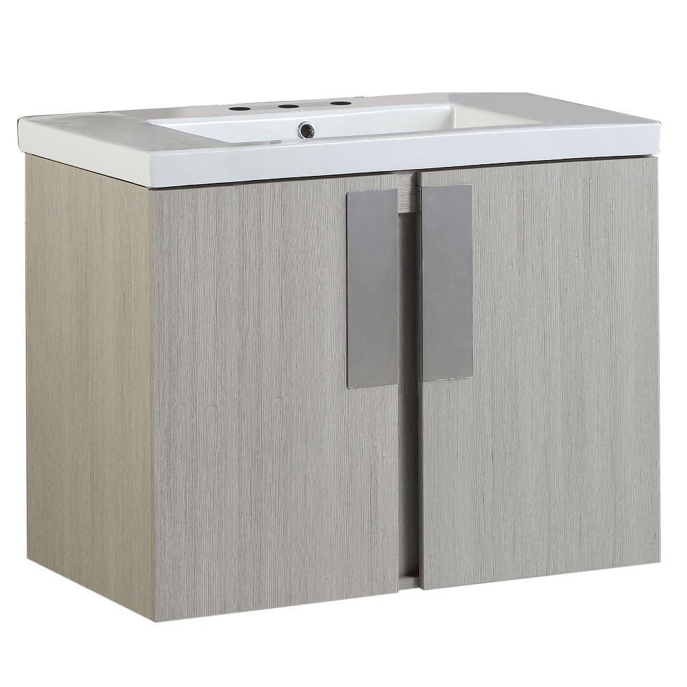Carmel 30 in. W x 19 in. D x 26 in. H Single Vanity in Gray Pine with Ceramic Vanity Top in White with White Basin