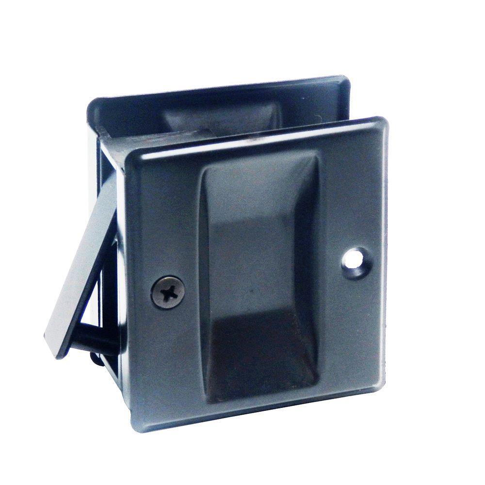 2-3/4 in. Pocket Door Bronze Passage Lock