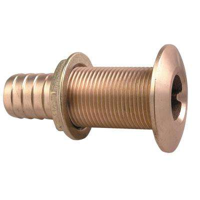 Plain Bronze Thru-Hull Connection for Use with Hose