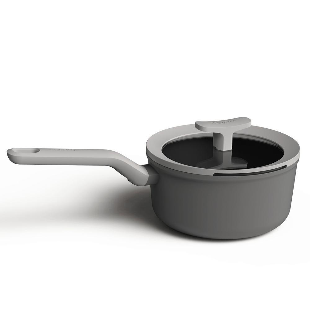 Leo 2.1 qt. Aluminum Nonstick Sauce Pan in Grey with Glass Lid