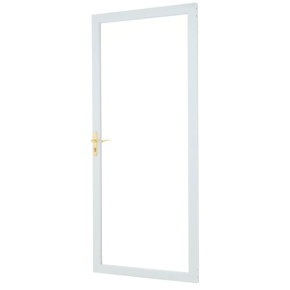 Andersen 36 in. x 80 in. 2000 Series White Universal Fullview Etched Glass Aluminum Storm Door with Brass Hardware