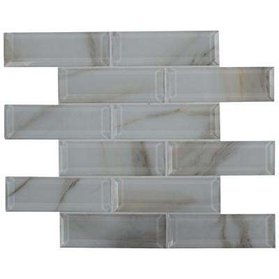 Ivory Amber Beveled Subway 11.81 in. x 11.81 in. x 8mm Glass Mesh-Mounted Mosaic Tile (0.97 sq. ft.)