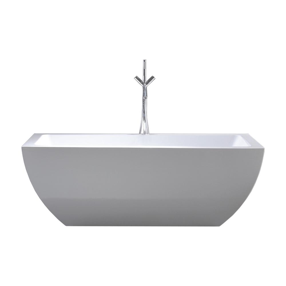 Huntington 60 in. Acrylic Flatbottom Non-Whirlpool Bathtub in White